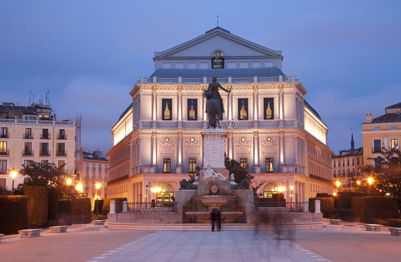 Madrid - Philip IV Of Spain Memorial And Opera In Evening Royalty Free Stock Images