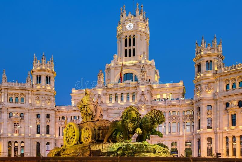 Madrid, Plaza de Cibeles. Spain, Madrid, Plaza de Cibeles by night royalty free stock photo