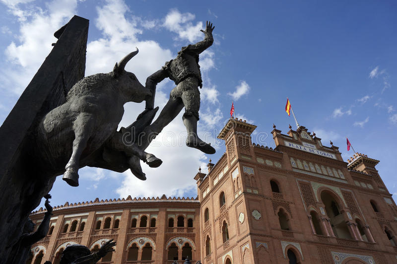 Madrid Plaza de Toros. Madrid Landmark. Bullfighter sculpture in front of Bullfighting arena Plaza de Toros de Las Ventas in Madrid, Spain royalty free stock photos
