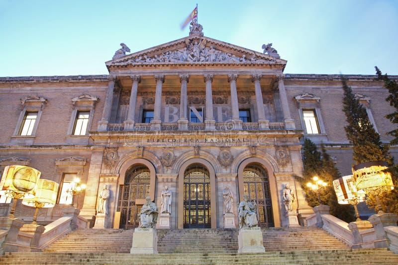 Madrid - Portaal van Museo Arqueológico Nacional - Nationaal Archeologisch Museum van Spanje stock afbeelding