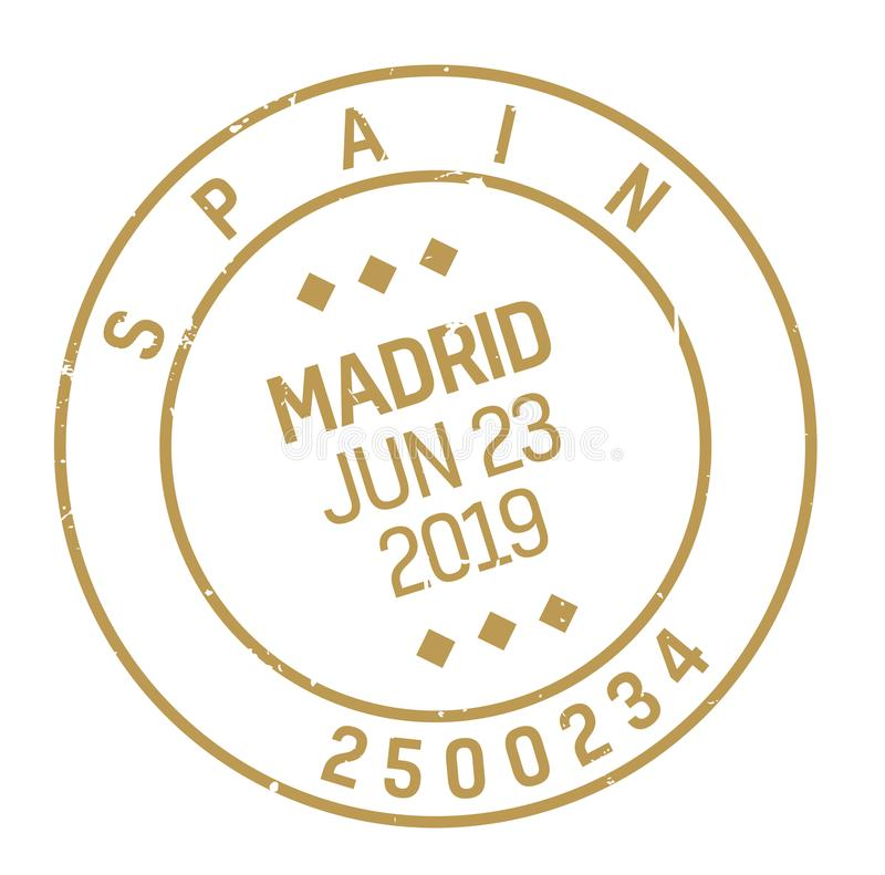 Madrid postage stamp. Realistic looking stamp with city name vector illustration