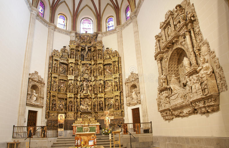 Madrid - Presbytery and renaissance altar of Capilla del Obispo. By Francisco Giralte (1500-1576) in March 10, 2013 in Spain stock photos