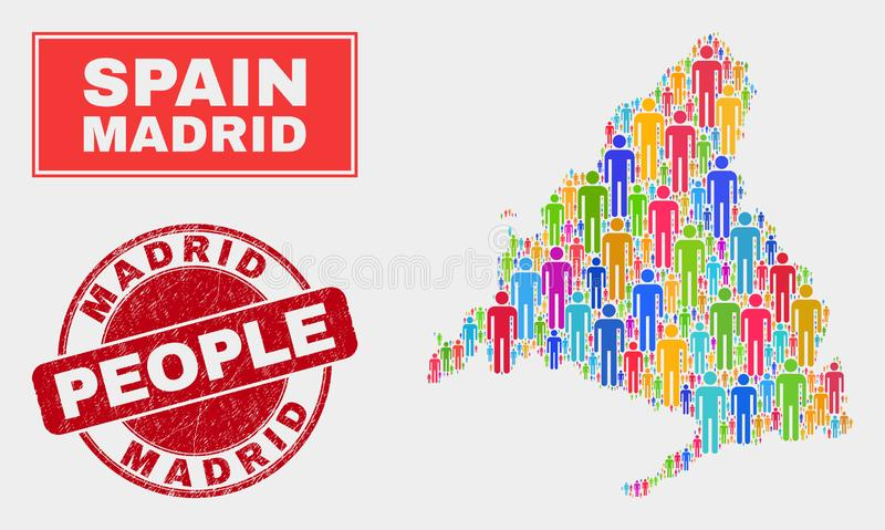 Madrid Province Map Population People and Grunge Stamp. Demographic Madrid Province map illustration. People colorful mosaic Madrid Province map of crowd, and royalty free illustration