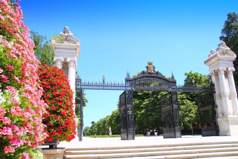 Madrid Puerta de Espana Buen Retiro Park stock photo