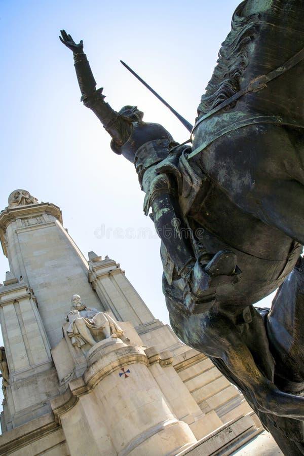 2017 01 06, Madrid, Rusland Een monument aan Miguel de Cervantes in Madrid, Spanje Gezichten van Madrid royalty-vrije stock foto