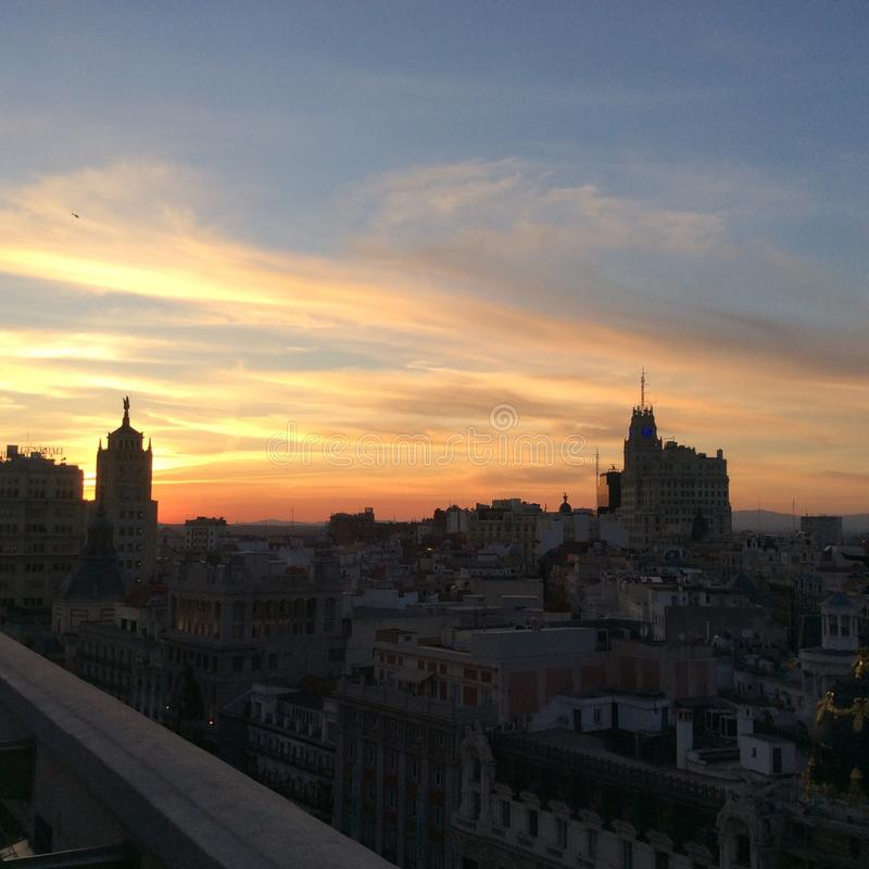 Madrid's silhouette on sunset stock photography