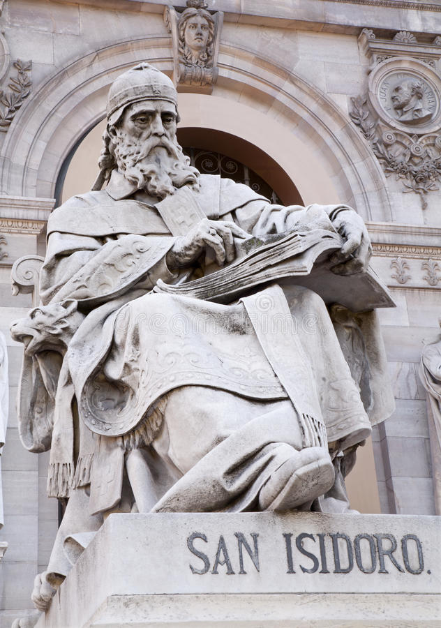Madrid - Saint Isidore of Seville from Portal of National Archaeological Museum stock photo