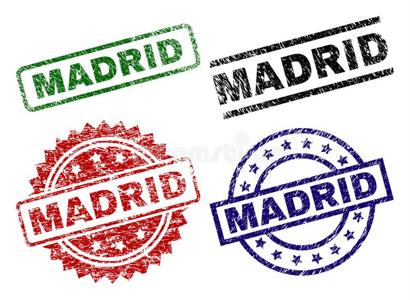 Scratched Textured MADRID Stamp Seals royalty free illustration