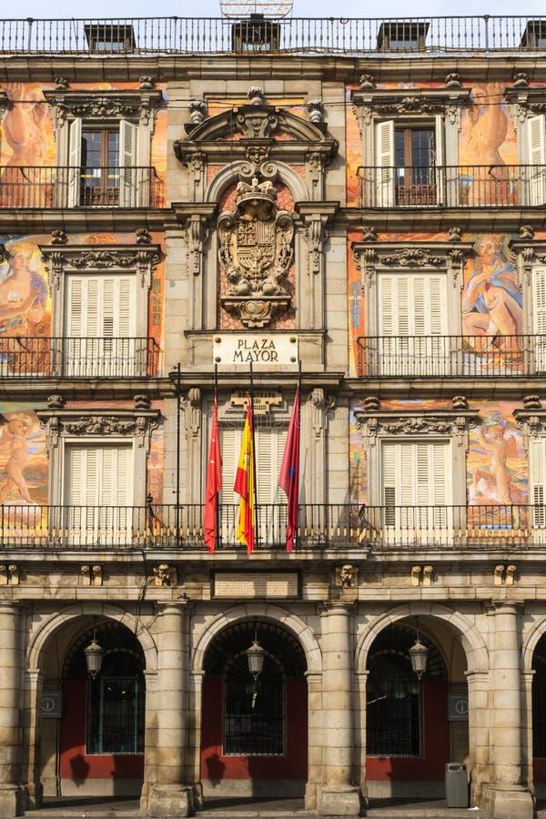 Madrid, sindaco della plaza, facciata di Casa de la Panaderia immagine stock libera da diritti