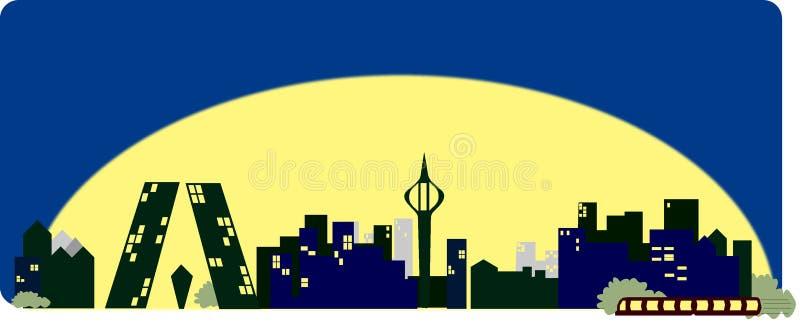 Madrid skyline cartoon vector illustration