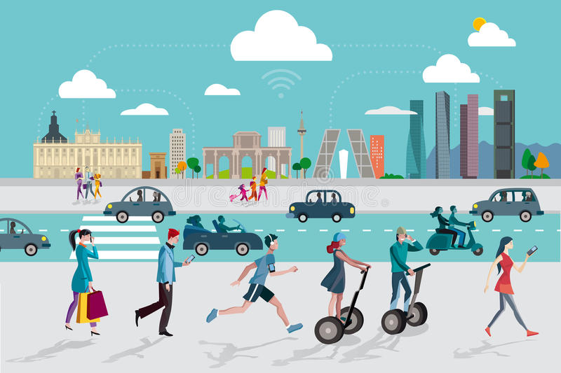 Madrid Skyline and People with Smart Phones vector illustration