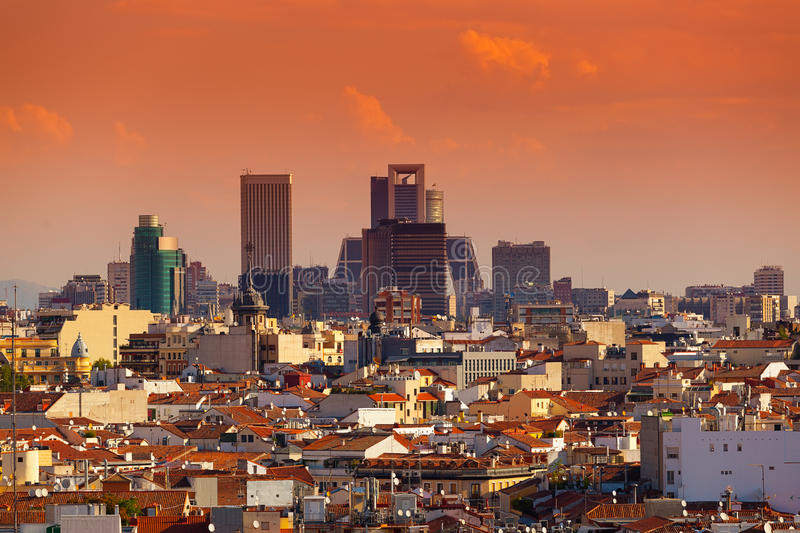 Madrid Skyline with skyscrapers at Sunset stock images