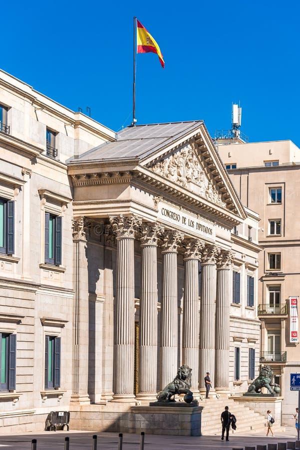 MADRID, SPAGNA - 26 SETTEMBRE 2017: Las Cortes o Congreso de los Diputados Congress di Palacio de di delegati Copi lo spazio per  immagine stock libera da diritti