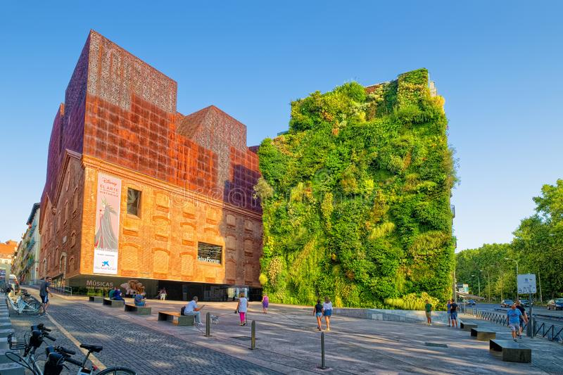 Vertical garden and CaixaForum Madrid, Spain stock images