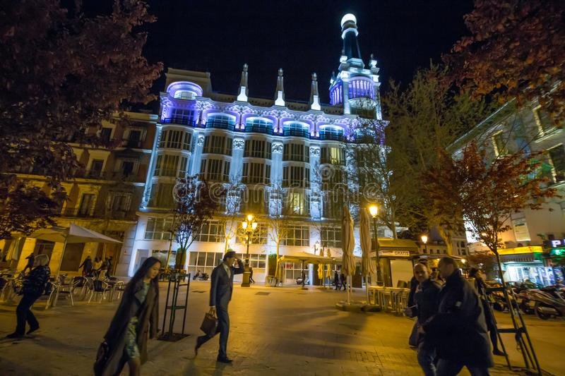 Nightlife in the streets of downtown Madrid, Plaza de Santa Ana stock images