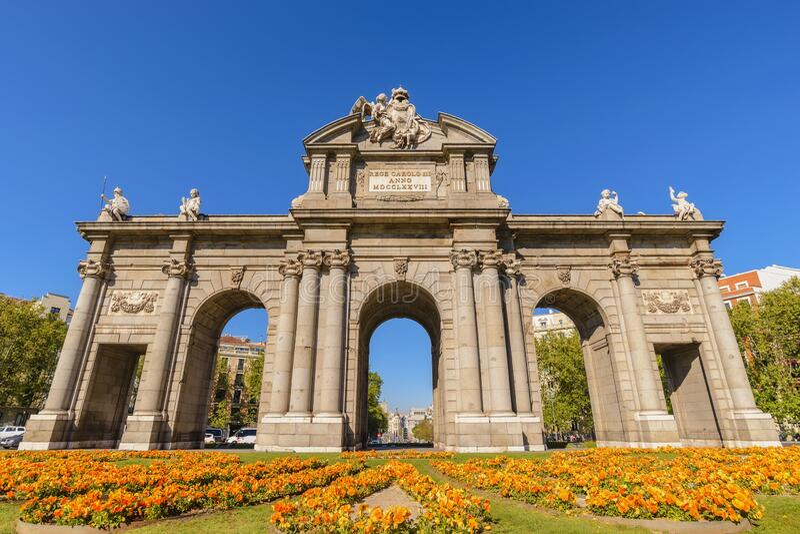 Madrid Spain Puerta de Alcala. Madrid Spain, city skyline at Puerta de Alcala stock photography