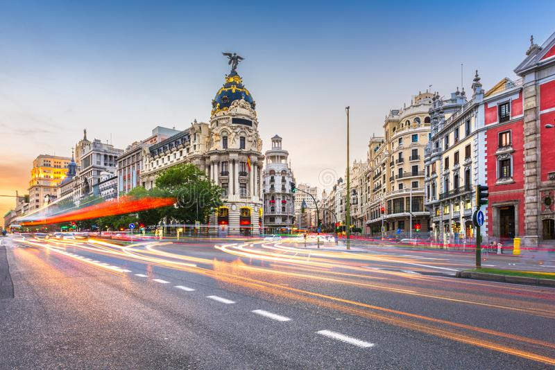 Madrid, Spain cityscape at Dusk. Madrid, Spain cityscape at Calle de Alcala and Gran Via royalty free stock images