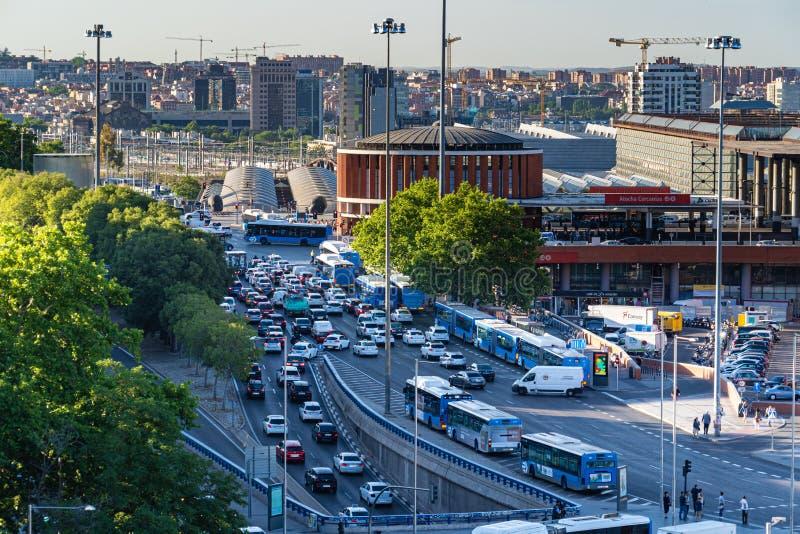 Madrid, Spain 19 de junho: engarrafamento perto da estação de Atocha imagem de stock royalty free