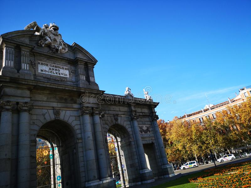 Alcala gate Puerta de Alcala in Madrid, Spain. royalty free stock images