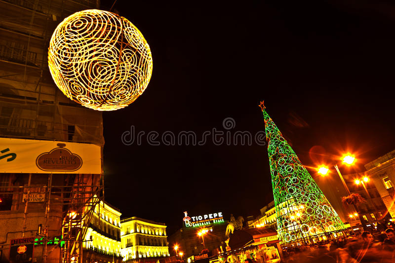 Illuminated Christmas Decoration in Madrid, Spain royalty free stock photo