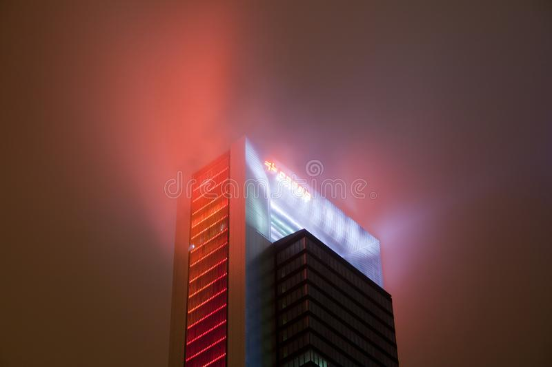 Madrid, Spain - December 25, 2017: skyscraper at night with haze. And lighting style blade runner royalty free stock images