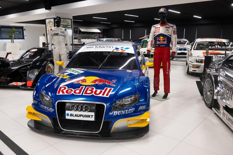 MADRID, SPAIN - December, 2019: Teo Martin museum - car collection at MSI motor and sport institute. Unique exhibition of. Expensive race vehicles. Building is stock photography