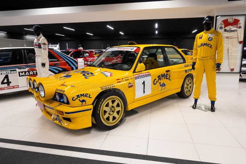 MADRID, SPAIN - December, 2019: Teo Martin museum - car collection at MSI motor and sport institute. Unique exhibition of. Expensive race vehicles. Building is royalty free stock photo