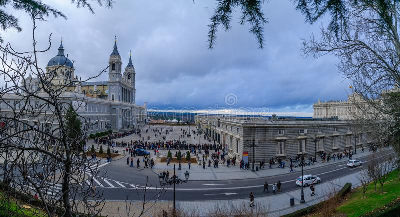 Cathedral and Royal Palace, Madrid royalty free stock photography