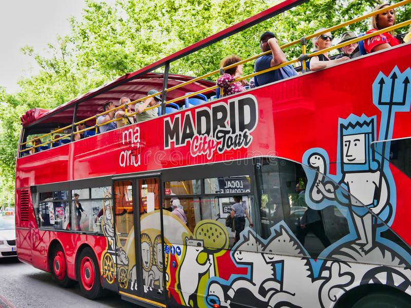 Madrid, Spain  Double decker touristic bus in downtown stock image