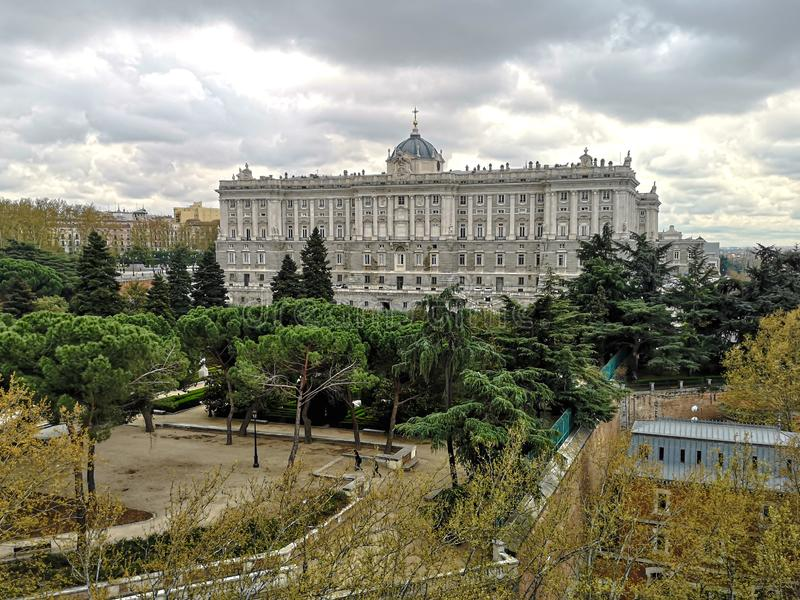 Elevated view of the Royal Palace of Madrid on a cloudy day stock photo