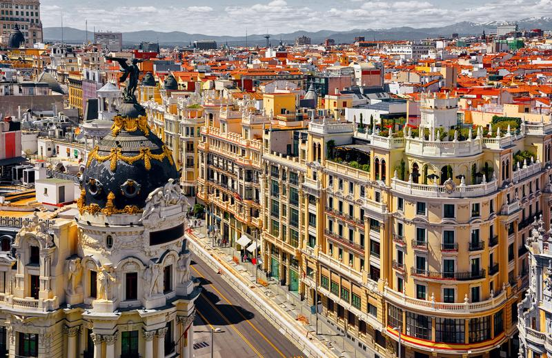 Madrid, Spain. Famous street Gran Via top view stock photography