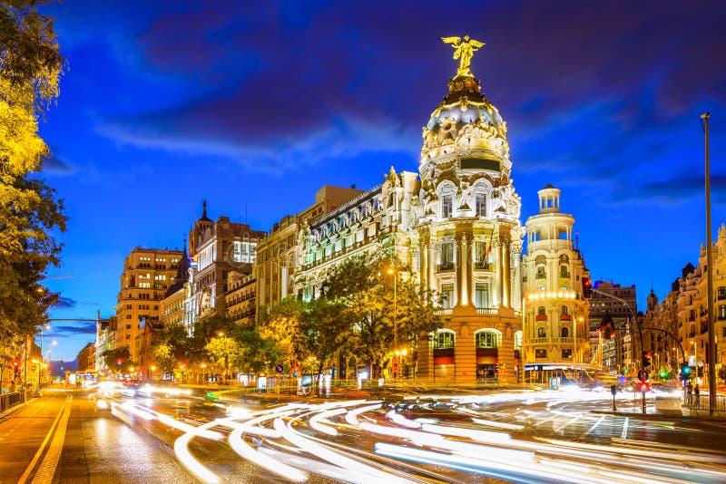 Madrid Spain at Gran Via stock photos