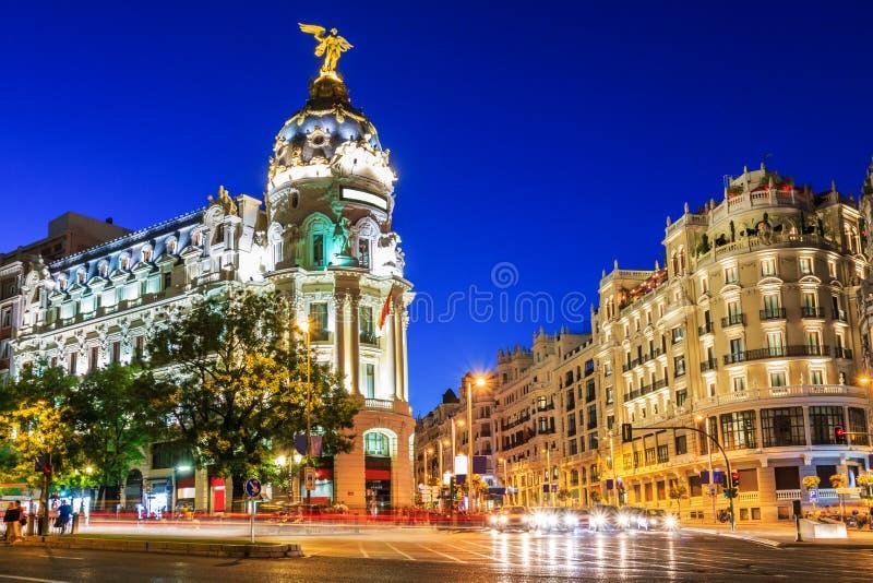 Madrid, Spain. Gran Via, main shopping street at dusk stock images