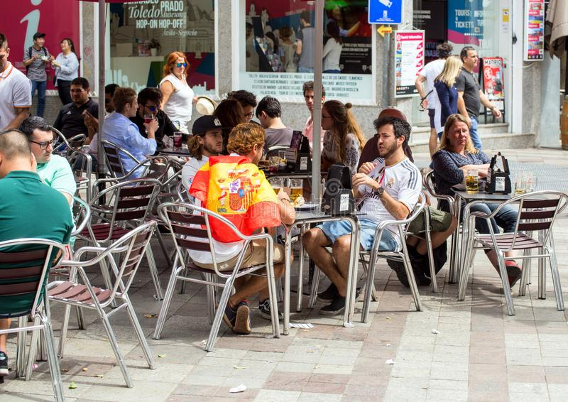 2017.06.01, Madrid, Spain. Group of friends at café in Madrid. People of Spain. stock photo