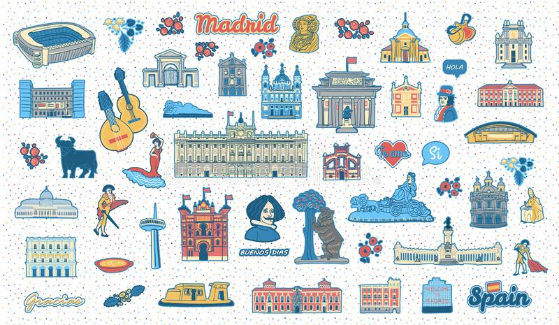 Madrid Spain inspired colorful hand drawn landmarks and symbols set vector illustration