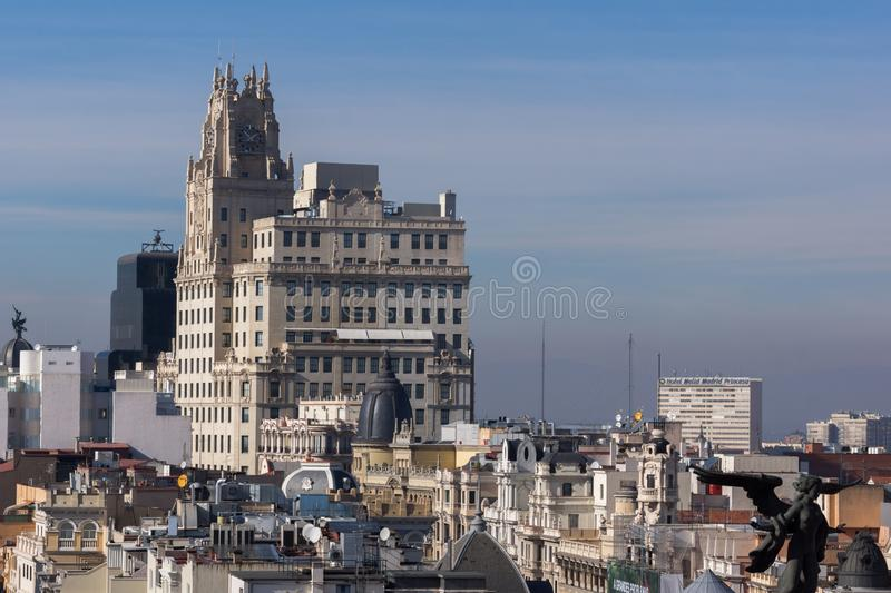 Amazing Panoramic view of city of Madrid from Circulo de Bellas Artes, Spain royalty free stock image