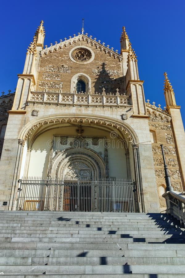 Amazing view of San Jeronimo el Rea church in City of Madrid. MADRID, SPAIN - JANUARY 22, 2018: Amazing view of San Jeronimo el Rea church in City of Madrid stock image