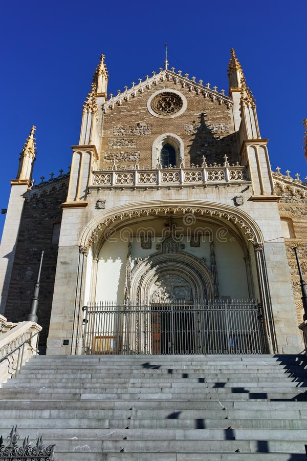 Amazing view of San Jeronimo el Rea church in City of Madrid. MADRID, SPAIN - JANUARY 22, 2018: Amazing view of San Jeronimo el Rea church in City of Madrid stock photo