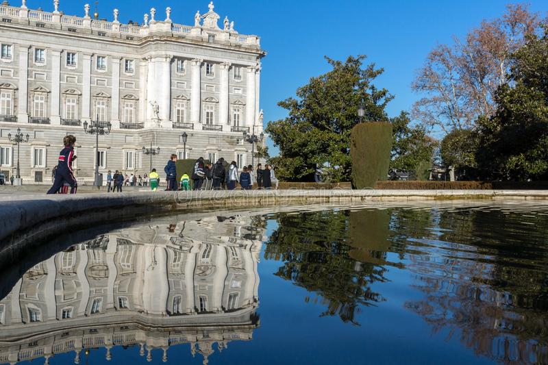 Beautiful view of the facade of the Royal Palace of Madrid, Spain. MADRID, SPAIN - JANUARY 22, 2018: Beautiful view of the facade of the Royal Palace of Madrid stock photography