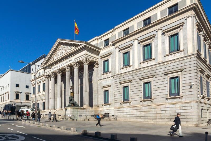 Building of Congress of Deputies Congreso de los Diputados in City of Madrid, Spain. MADRID, SPAIN - JANUARY 22, 2018: Building of Congress of Deputies Congreso stock images