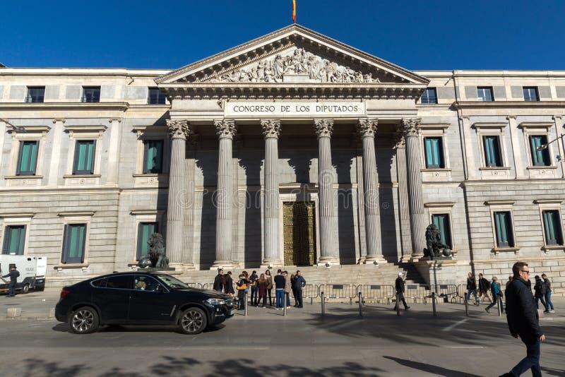 Building of Congress of Deputies Congreso de los Diputados in City of Madrid, Spain. MADRID, SPAIN - JANUARY 22, 2018: Building of Congress of Deputies Congreso stock image
