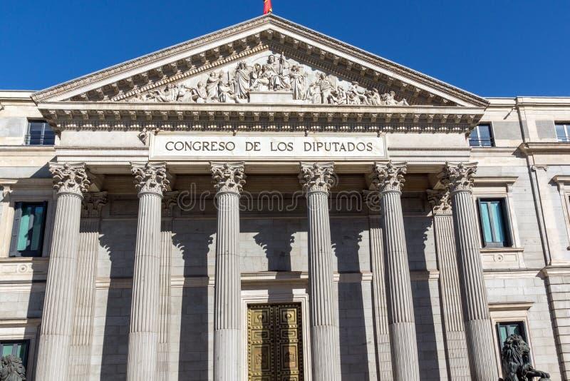 Building of Congress of Deputies Congreso de los Diputados in City of Madrid, Spain. MADRID, SPAIN - JANUARY 22, 2018: Building of Congress of Deputies Congreso stock photo