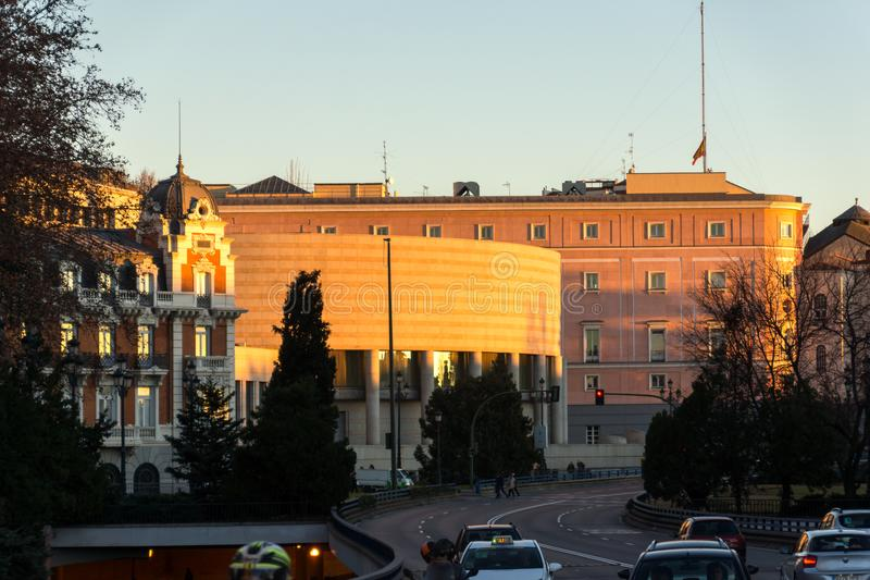 Sunset view of Building of Senate City of Madrid, Spain. MADRID, SPAIN - JANUARY 21, 2018: Sunset view of Building of Senate City of Madrid, Spain royalty free stock image