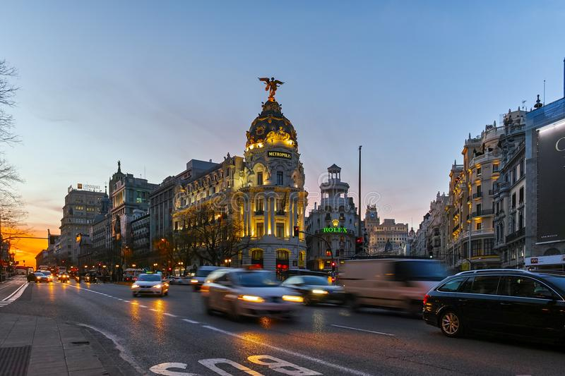 MADRID, SPAIN - JANUARY 23, 2018: Sunset view of Gran Via and Metropolis Building in City of Madrid stock photo