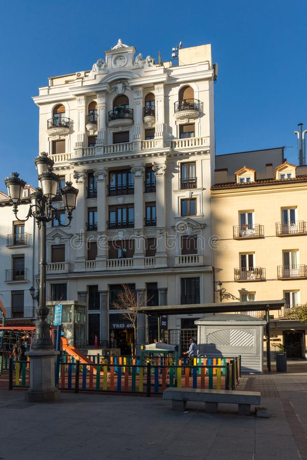 Sunset view of Plaza Santa Ana in City of Madrid, Spain. MADRID, SPAIN - JANUARY 23, 2018: Sunset view of Plaza Santa Ana in City of Madrid, Spain royalty free stock photos