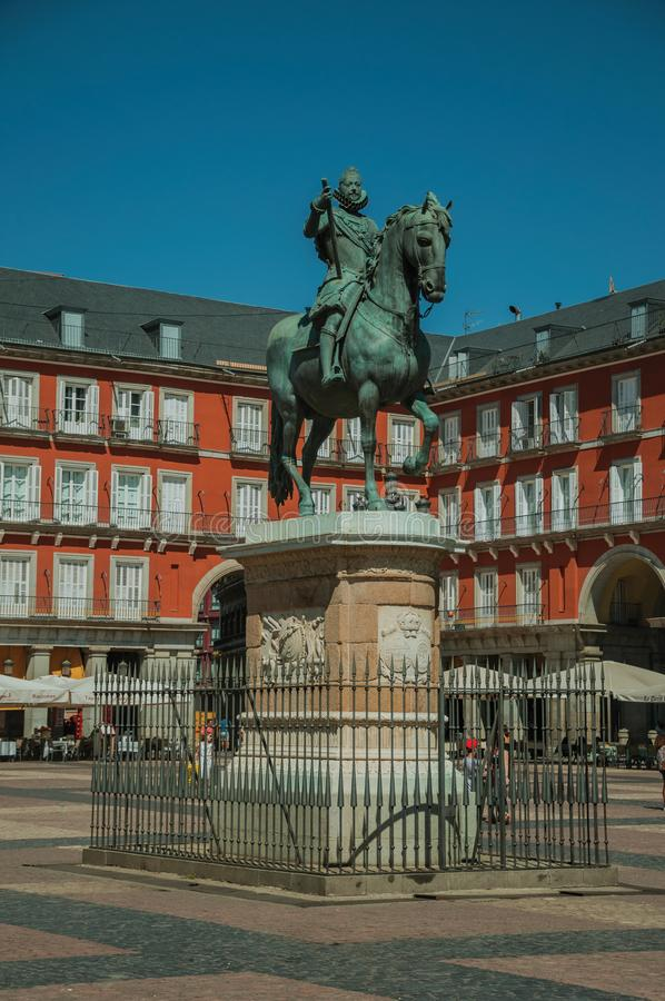 People on the Plaza Mayor with the statue of King Philip III in Madrid stock photos