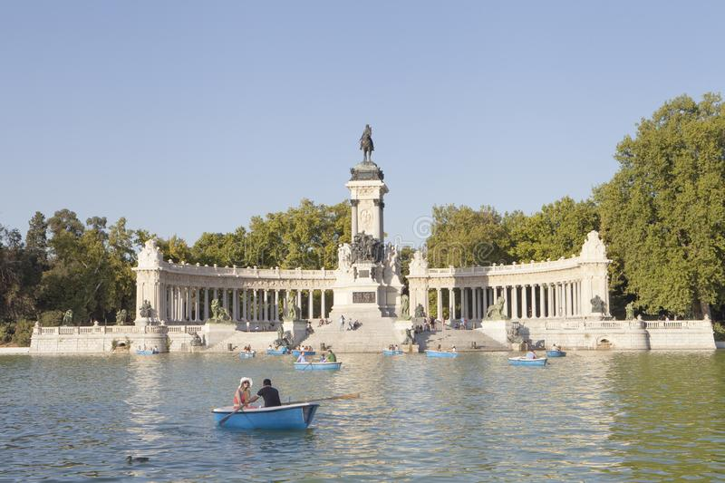 Summer crowd at blue sky in Retiro Park, Madrid royalty free stock photography