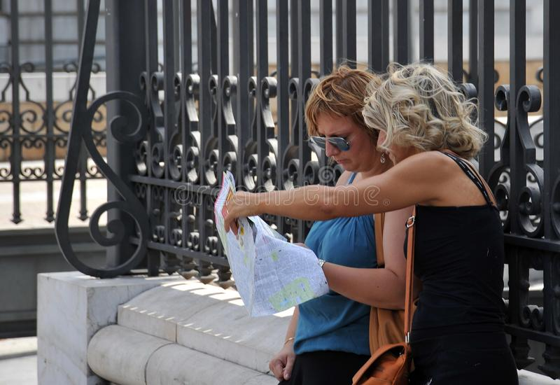 Tourists on the street of Madrid. stock image