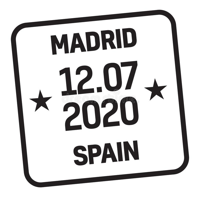 MADRID, SPAIN mail delivery stamp. Isolated on white background. Postage signs series vector illustration