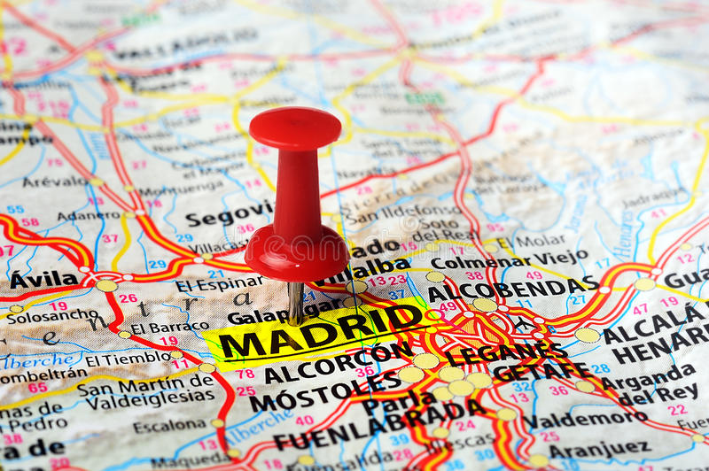 Madrid , Spain map. Close up of Madrid , Spain map and red pin - Travel concept stock images